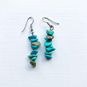 Boho turquoise layered stone drop earrings